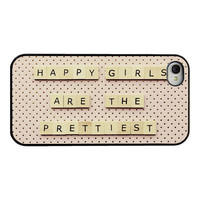 Audrey Hepburn Iphone case - quote Iphone 4 4s cover - happy girls are the prettiest - polka dots - girly Iphone cover