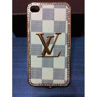 Limited Edition LV Print on Front with Gold Frame Leather Case for Iphone 4/4s