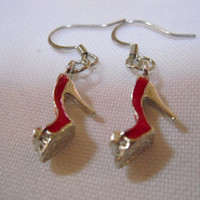 Red High Heel Shoe Earrings