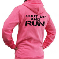Shut Up And RUN Unisex Flex Fleece Zip NEON Hoodie Hooded Sweatshirt running American Apparel