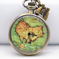 Antique brass Oceania Australia map pocket watch necklace, telescope adventure necklace vintage style NWAU01