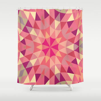 Warm Pink Retro Geometry Shower Curtain by 2sweet4words Designs