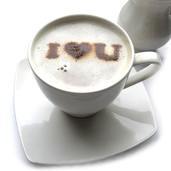 I love you - coffee stencil, cake stencil, cupcake stencil