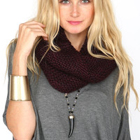 DUAL CONTRAST CHUNKY KNIT COWL SCARF - PLUM - one
