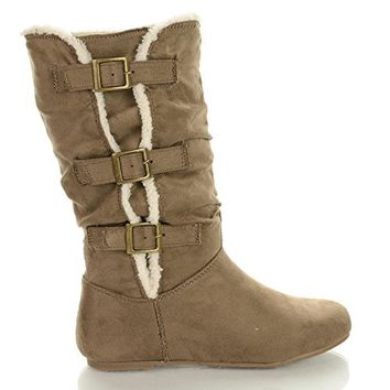 Kalisa91 Slouchy Buckle Strap Mid Calf Boots