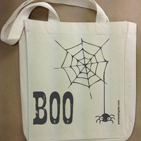 Boo - Spider - Custom Cotton Canvas Small Gift Tote Bag - FREE SHIPPING
