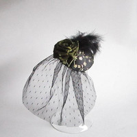 Black and Gold Fascinator with Veil