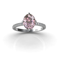 Extraordinary 14K White Gold Ring with Pink Kunzite and White Diamonds engagement ring