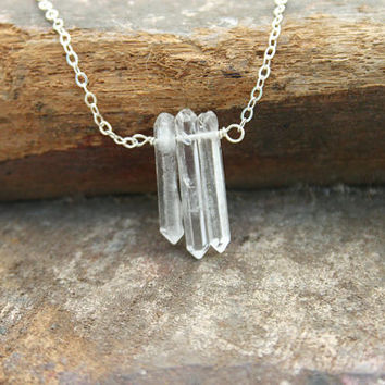 Clear quartz crystal point necklace. Handmade simple three - 3- crystal point pentant and sterling silver chain necklace.
