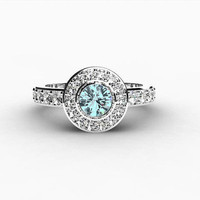 Aquamarine engagement ring, Halo, Diamond ring, Aquamarine ring, Engagement ring, Halo engagement, blue, bezel, diamond halo, bezel