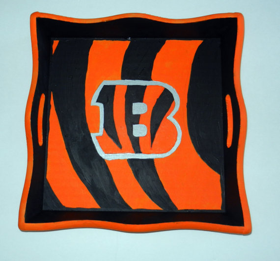 Hand Painted Sports Themed Wooden Serving Tray, Cincinnati Bengals