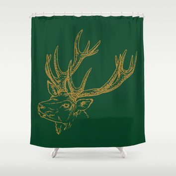 HOLIDAZE Christmas Deer Green Shower Curtain by Beautiful Homes