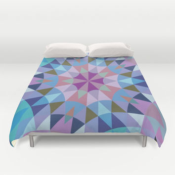 Lavender Retro Geometry Duvet Cover by 2sweet4words Designs