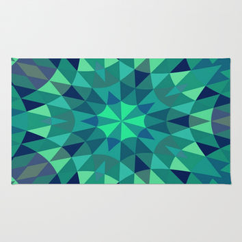 Teal Retro Geometry Area & Throw Rug by 2sweet4words Designs