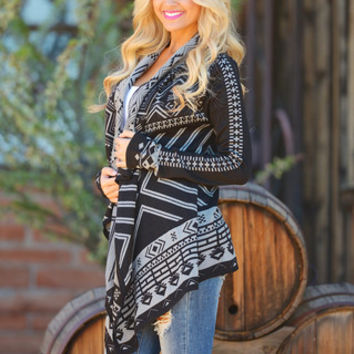 EVERLY You Think Too Much Cardigan - Black/Grey