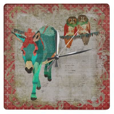 Retro Ruby & Azure Donkey with Rose Owls Clock from Zazzle.com