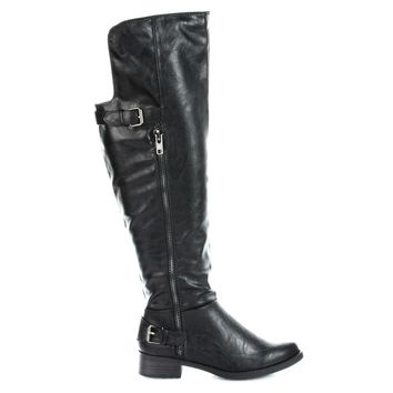 Saver Back Strap Buckle Knee High Riding Boots
