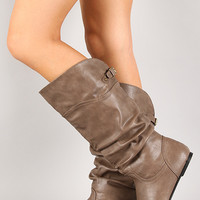 Slouchy Mid Calf Flat Boot