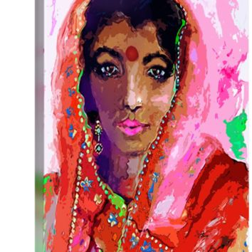 """Indian Woman with Red Bindi in Sari"" by Ginette Callaway"
