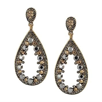 Multi-stone Teardrop Post Earrings