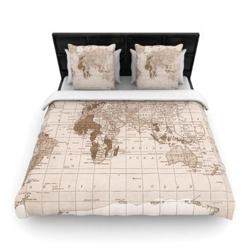 """Kess InHouse 68 by 88-Inch Catherine Holcombe """"Emerald World"""" Woven Duvet Cover, Twin, Vintage Map"""