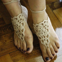 Beige  Barefoot Sandals, Lace shoes,Summer, Footwear, Bridal, Cotton, dance, sexy, aglow, ecofriendly, vamp The front page on ETSY