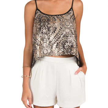 Sequin Tulip Back Crop Top - Champagne /