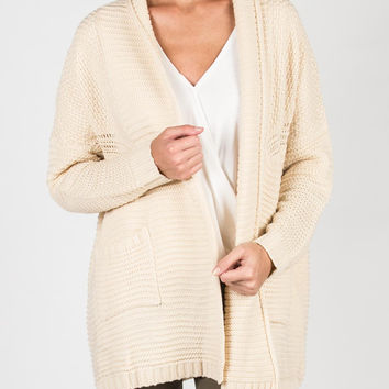 All About Warmth Two Pocket Knitted Cardigan - Cream - Cream /