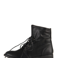 Lace Up Ankle Riding Boots - Black - Black /