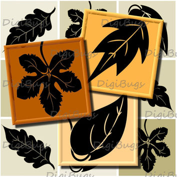 Autumn Leaves, Digital Collage Sheet 2 inch Squares for Magnets Decoupage, Printable Black and Orange Leaf Images, Instant Download