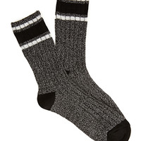 FOREVER 21 Marled Varsity-Stripe Socks Black/Cream One
