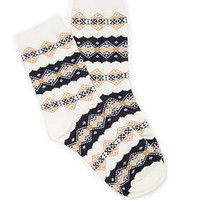 FOREVER 21 Diamond-Patterned Crew Socks