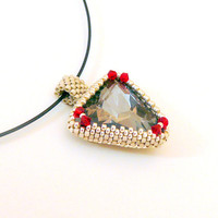 Beaded triangle pendant, beadwork pendant, sparkling crystal pendant, cream-red-silver colors