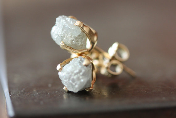 Rough Diamond Stud Earrings in 14kt Gold- large, white diamond, bridal jewelry, wedding, natural diamond, prong setting