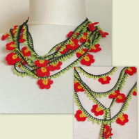 crochet flower necklace , strand necklace - Crochet  work lariat crochet scarf necklace jewelry