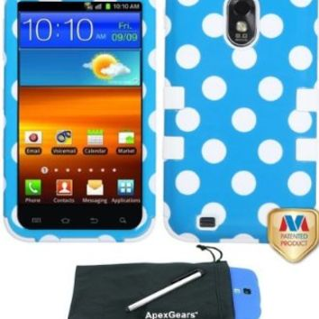 For Samsung Galaxy S2 S II Epic 4G Touch D710 Polka Dots Design Tuff Hybrid Phone Cover Case with Stylus Pen and ApexGears (TM) Phone Bag (Blue White Polka Dots w/ White Skin)