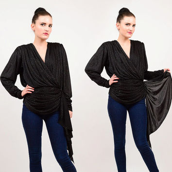 80s Black Draped Plunging Neckline Cascading Ruffle Blouse 1980s Grecian Disco Cinch Waist Long Sleeve Top Sparkle Glitter Small Medium S M