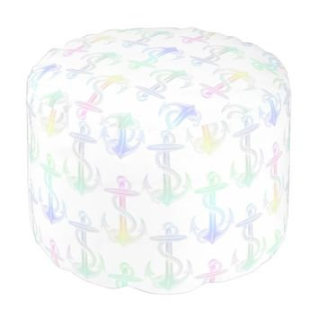 Anchor Pastel Rainbow White Pouf Seat