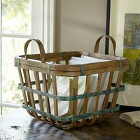 SMALL SQUARE GREEN PATINA BASKET