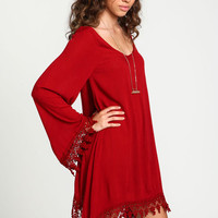 CROCHET BELL SLEEVES CAFTAN DRESS
