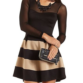 Long Sleeve Striped Skater Dress by Charlotte Russe - Black Combo