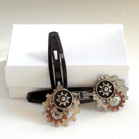 Handmade Hair Clips,  Steampunk  Womens Hair Accessory,  OOAK
