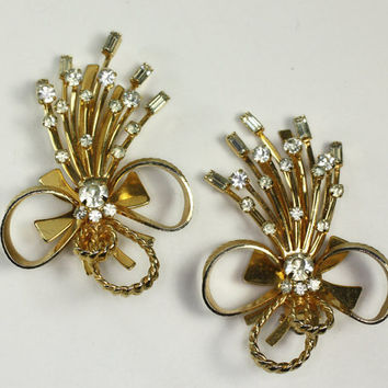 Sarah Coventry Bow and Barley Twist Gold Tone Earrings Mad Men Bold Vintage