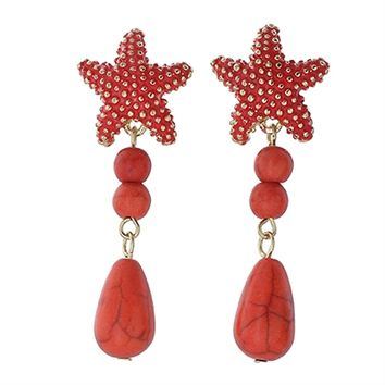 HauteChicWebstore Starfish Drop Post Earring in Red at www.shophcw.com