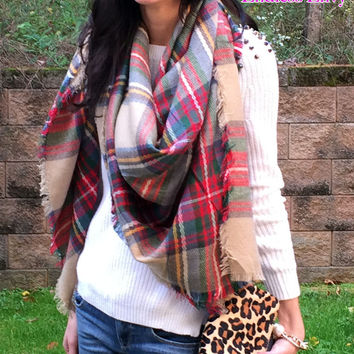 The Plaid Blanket Scarf - Classic Plaid Scarf Shawl