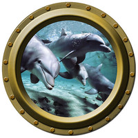 4 Curious Dolphins Porthole Vinyl Wall Decal by WilsonGraphics
