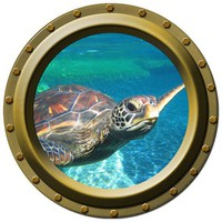 Large Sea Turtle Watching You Porthole Vinyl Decal by WilsonGraphics