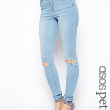 ASOS PETITE Ridley High Waist Ultra Skinny Jeans In Watercolour Blue With Busted Knees