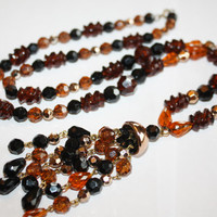 Fall Amber Necklace Sautoir Lariat Vintage Lucite Bead 1950s Jewelry