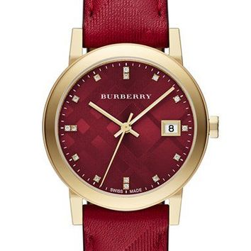 Burberry 'New Classic' Diamond Index Leather Strap Watch, 34mm   Nordstrom